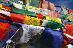 Buddhist flag in wind Stock Image
