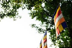 Buddhist flags in Buddhist temple with copy space. Symbol of Worship, Belief, Cultural Religious concept.  stock images