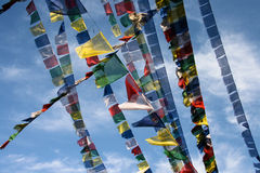 Buddhist flags in the mountains. Nepal Himalaya Spring 2011 Royalty Free Stock Photos