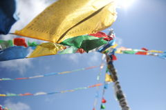 Buddhist flags in Shangri-La Royalty Free Stock Photo