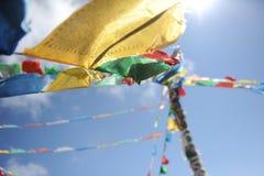 Buddhist flags in Shangri-La Royalty Free Stock Photo