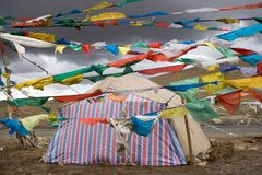 Buddhist Flags in Tibet Royalty Free Stock Photo