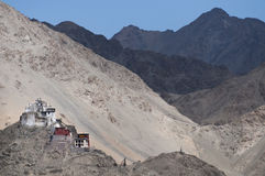 Buddhist Fort in the Mountains of Ladakh Stock Image