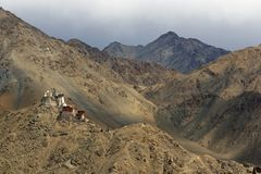 Buddhist Fort in the Mountains of Ladakh Stock Photography