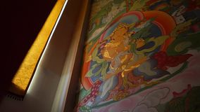 Buddhist frescoes on the wall of the central khurul in elista. Kalmykia stock video footage