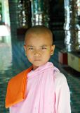 Buddhist (girl) nun in Burman (Myanmar) Royalty Free Stock Photo