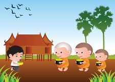 Buddhist give food offering to a monk or ask as a favor receive Royalty Free Stock Image