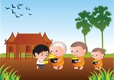 Buddhist give food offering to a monk or ask as a favor receive. Food or ask for alms,routine of monk, illustration Royalty Free Stock Images