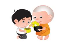 Buddhist give food offering to a monk or ask as a favor receive. Food or ask for alms,routine of monk,isolated, illustration Stock Photos