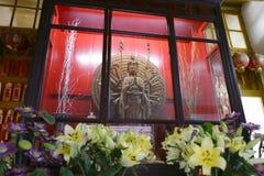 Buddhist goddess kannon wood statue in miaofalinsi temple Stock Image