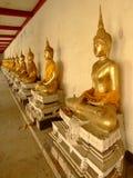 Buddhist gold statues, Bangkok, Thailand. Many gold Buddha statues in a temple grounds, Bangkok, Thailand Stock Image