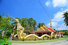 Buddhist temple surrounded by green garden stock photography