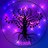Buddhist holiday - Vesak. The concept of the event. Black Bodhi Tree on a space background in a circle. Ficus religiosa Stock Photo