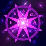 Buddhist holiday - Vesak. Dharmachakra is the wheel of dharma. Buddhist holiday - Vesak. The concept of the event. Dharmachakra is the wheel of dharma, the Stock Photo