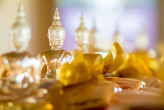 Buddhist idol made by glass for offering Royalty Free Stock Photos