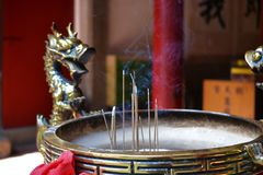 Buddhist incense burner in Taiwan, ancestor worship royalty free stock photography