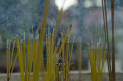 Buddhist incense smoke in a temple Royalty Free Stock Photos
