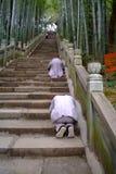 Buddhist koutou on stone step Stock Photo