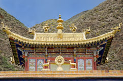 Buddhist Labrang Monastery. Part of one of buildings of tibetan buddhist Labrang Monastery in Xiahe, China Royalty Free Stock Images