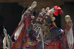 Buddhist lama high tantric initiation performs the Dance Mask in ritual Tibetan clothing at the festival in Zanskar, India. Buddhist lama high tantric Stock Images