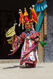 Buddhist lamas dressed in mystical mask dancing Tsam mystery dance in time of Yuru Kabgyat Buddhist festival at Lamayuru Gompa, La. LAMAYURU, INDIA - JUNE 13 Stock Images