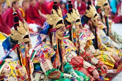 Buddhist lamas during Tsam mystery Royalty Free Stock Photo