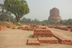 Buddhist landmark, ruined temple walls and sacred Dhamekh Stupa in indian Sarnath. Forest where Gautama Buddha first taught the Dharma at 500 BC royalty free stock photography