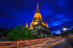 Buddhist Lent Day at night time Stock Image
