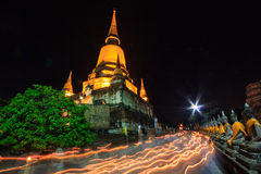 Buddhist Lent Day at night time Stock Images