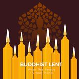Buddhist lent day with the peace in your mind text on yellow candle light and Buddha sign vector background Royalty Free Stock Photography
