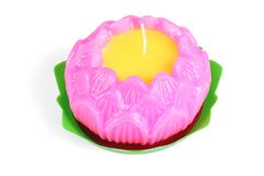 Buddhist Lotus Flower Shape Wax Candle Stock Image