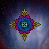 The Buddhist mandala in the background of the vast expanses of t. He universe. Wisdom and the distant stars Stock Images