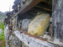 Buddhist mantras in engraved in a colorful stone - Annapurna circuit - Nepal. Buddhist mantras in engraved in a colorful stone - Annapurna circuit in Nepal stock photos