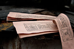 Buddhist manuscripts. Few  pages of sacred ancient text of Buddhist religion written in Bhutanese (Dzongkha) language. Bhutanese Buddhism is close to Tibetan Stock Image
