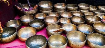 Buddhist meditation bowls for meditation royalty free stock photo