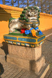 Buddhist monaster. Y in Ulaanbaatar - Mongolia. Figure depicting a lion stock photos