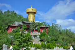 Buddhist monastery and the biggest prayer wheel, Shangri-La Royalty Free Stock Photos