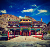 Buddhist monastery in Kaza, Spiti Valley Stock Photos