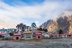 Buddhist monastery morning fog, Tengboche village, Nepal. Stock Photos