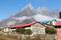 Buddhist monastery morning fog, Tengboche village, Nepal. Stock Image