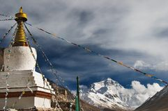 Buddhist monastery and mount Everest. Highest monastery of the world Rongbuk monastery and mount Everest on background Royalty Free Stock Photography
