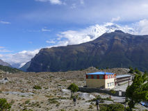 Buddhist Monastery near Ngawal and Annapurna 2, Nepal Royalty Free Stock Photography