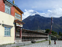 Buddhist Monastery near Ngawal and Annapurna 2, Nepal Stock Photography