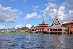 Buddhist monastery standing on stilts Royalty Free Stock Images
