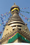 Buddhist Monastry, Nepal. The monkey temple, with prayer flags Stock Photography