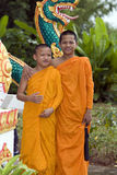 Buddhist monk. From Thailand in traditional orange garb Stock Images