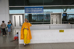 Buddhist monk at airport Tan Son Nhat International Airport Stock Photography