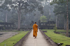 Angkor Wat, Cambodia, Buddhist monk at The Bayon temple Stock Photography