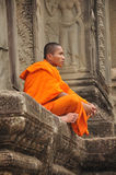 Buddhist monk in Angkor Wat in Cambodia Stock Image