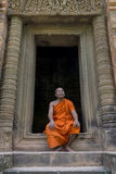 Buddhist monk in Angkor Wat, Cambodia Royalty Free Stock Photo